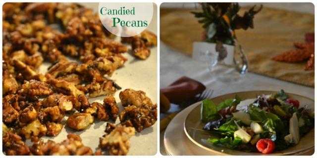 candied pecan and salad collage