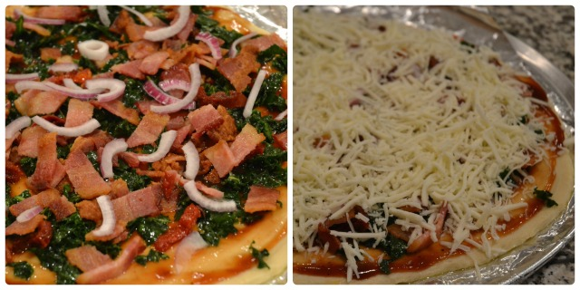 My Daughter and I Bacon Kale Pizza collage