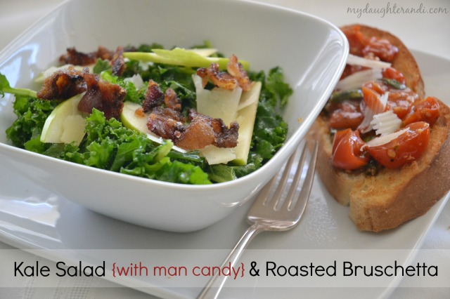 kale salad with roasted bruschetta 1 - My Daughter and I