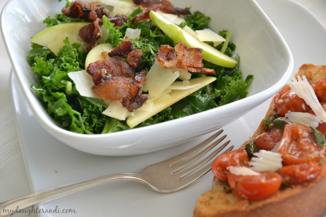 kale salad with roasted bruschetta 2 - My Daughter and I