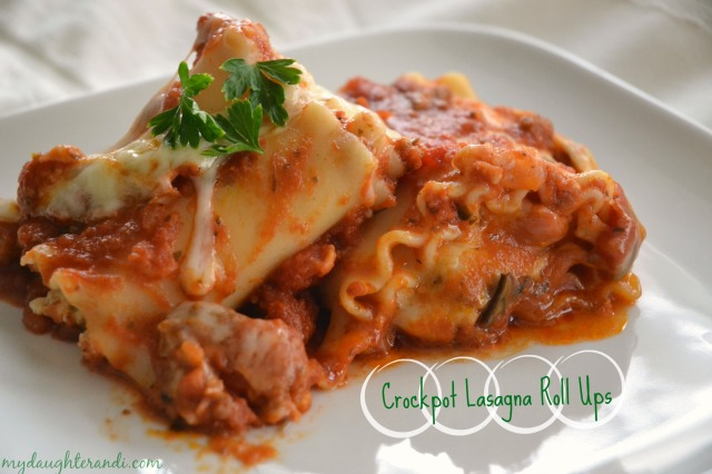 My Daughter and I- Easy Crockpot Lasagna Roll Ups. Click through for full recipe!