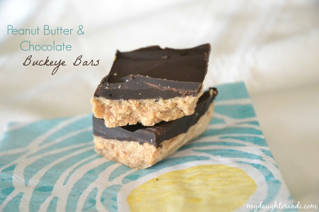 My Daughter and I- Peanut Butter and Chocolate Buckeye Bars 1